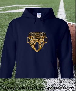 Long Island, NY - Navy Hoodie with Gold Design Zoom