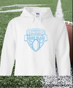 Rhode Island - White Hoodie with Light Blue Design Zoom