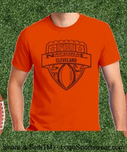 Cleveland - Orange Tee with Maroon Design Zoom